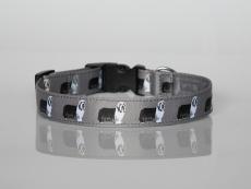 Halsband mit Beardie-Aufdruck mit Klickverschluss grau