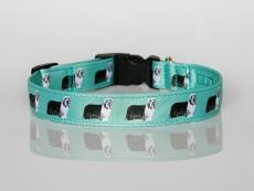 Halsband mit Beardie-Aufdruck mit Klickverschluss mint