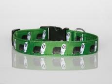 Halsband mit Beardie-Aufdruck mit Klickverschluss grün