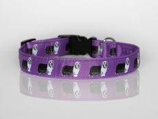 Halsband mit Beardie-Aufdruck mit Klickverschluss violett