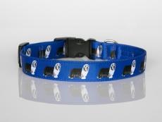 Halsband mit Beardie-Aufdruck mit Klickverschluss blau
