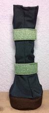 Premium Beardie Boots - dunkelblau/Glitzergummi mint - atmungsaktiv! Für Hündinnen