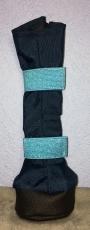 Premium Beardie Boots - dunkelblau/Glitzergummi türkis - atmungsaktiv! Für Hündinnen