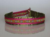 Halsband, satingefüttert, pink-grün