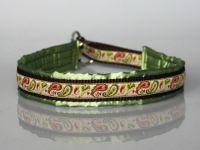 Halsband, satingefüttert, braun-grün