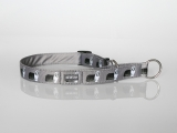Zugstopp-Halsband mit Beardie-Aufdruck grau