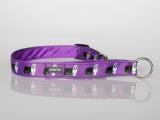 Zugstopp-Halsband mit Beardie-Aufdruck violett