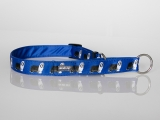 Zugstopp-Halsband mit Beardie-Aufdruck blau